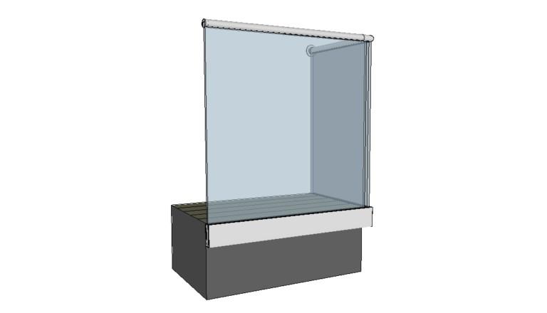 Stolpefritt glassrekkverk - sidemontert med håndløper i syrefast stål.