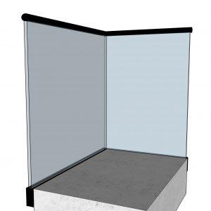 Svart sidemontert glassrekkverk - sett fra innsiden