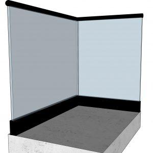 Svart bunnskinne i glassrekkverk med rund svart håndløper - sett fra innsiden