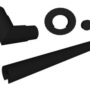 Rund håndløper i svart for glassrekkverk