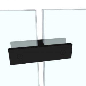Glassklemme mellom glass for å stabilisere glass i glassrekkverk