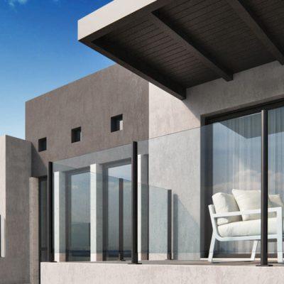 Villa med Ellipse glassrekkverk på terrassene